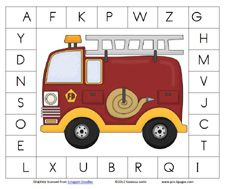 Fire Truck Clothespin Alphabet Game and Other Free Printables and Activities from Pre-K Pages