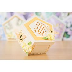 Tattered Lace Pentagon Dies Multibuy and CD Rom Multibuy Hexagon Box, Altered Boxes, Fancy Fold Cards, Create And Craft, Pentagon, Decorative Boxes, Card Making, Corner, Bows