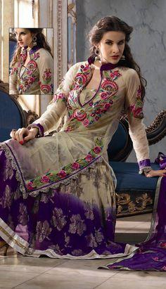 Beige Nett Churidar Anarkali Suit-KPW-14323