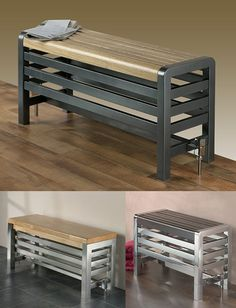We find the idea of having a heated bench radiator quite appealing. Contemporary look, comfortable wooden or metal seat and simple enough installation characterise these [. Bathroom Trends, Bathroom Interior, Bathroom Bench Seat, Baby Bathroom, Radiator Cover, Shower Remodel, Towel Rail, Radiators, Mudroom