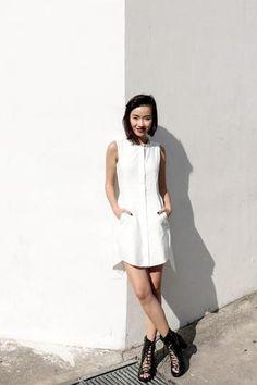 Uber-chic white shirt dress and strappy heels. // Uli Chan