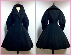 1940 | Black Mohair Engraved with Wood Pattern Princess Cut Coat by Lilli Ann