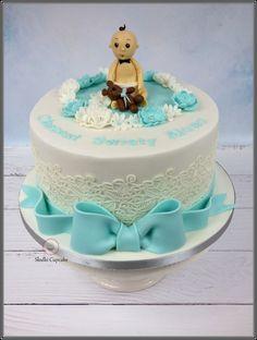 Tort na chrzciny chłopca z dzidziusiem   Słodki Cupcake