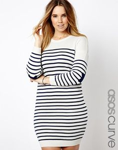 ASOS CURVE Jumper Sweater Dress In Breton Stripe With Star Elbow Patches Plus Size #UNIQUE_WOMENS_FASHION