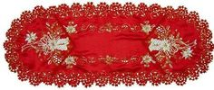 Red Embroidered Table Runner [16x60 inches 3] by CD $25.00. Design on both sides include a pair of ivory and soft gold candles in a bouquet of ivory and soft gold poinsettias with more ivory and soft gold poinsettias around it. Made from 100 percent Polyester red satin. Table Runners can also be used as a Doily or Dresser Scarf. Accented and outlined with gold metallic thread. Red Embroidered Table Runner. The Red Embroidered Table Runner is made from 100 percent ...