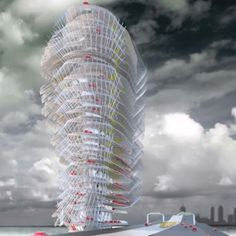 Abu Dhabi Car Park Tower -    Architect (Thom Faulders) has envisioned a most impressive car park tower with this design.