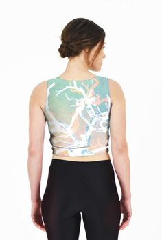 Gnarly Branches – Fitted Crop Top // Axly // The twisted and entangled branches of Hidden Valley in Joshua Tree National Park. White hardy branches with Niagara shadows against a Pale Dogwood and Hazelnut desert background. 82% polyester / 18% spandex. Made in USA.