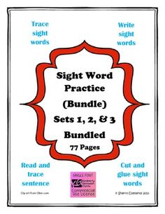Sight Word Practice Bundle (Sets 1, 2, & 3) (77 sight words) - 78 pages - Kindergarten sight words $