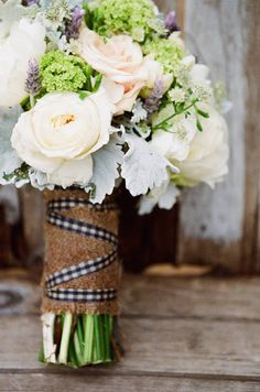 rustic bouquet minus the checkered ribbon