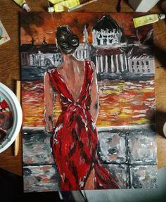 #paintingcanvas #girl #red