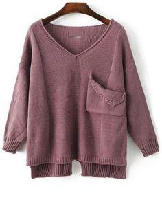 $20.26 for Single Pocket V Neck Long Sleeve Sweater