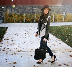 Kiss Me Darling: My Fall Must Haves Fall outfit, burgandy hat, faux leather sleeve jacket, T strap heels