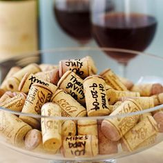 Remember milestones with a sophisticated bowl of dated wine corks. Each time you open a bottle to celebrate an event, write the name and date of the event in permanent marker on the cork. Once you have a collection, artfully arrange them in a bowl to make a memorable table centerpiece.