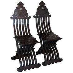Pair of 19th Century Fold-Up Middle Eastern Chairs | From a unique collection of antique and modern side chairs at https://www.1stdibs.com/furniture/seating/side-chairs/