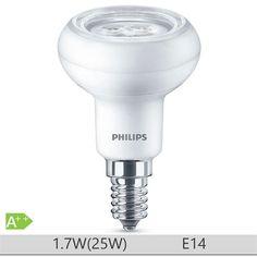 Bec LED Philips 1.7W E14 forma reflector R50, lumina calda http://www.etbm.ro/tag/149/becuri-led-e14