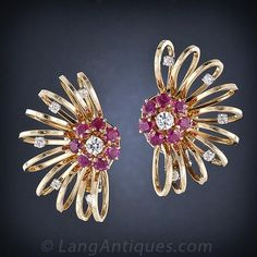 Large Retro Diamond and Ruby Earrings