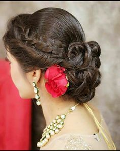 of braided bun hairstyle Twisted hairstyle with braid and ringlet bridal bun for wedding day.Twisted hairstyle with braid and ringlet bridal bun for wedding day. Bridal Bun, Bridal Hairdo, Hairdo Wedding, Bridal Hair And Makeup, Hair Makeup, Wedding Makeup, Rose Wedding, Bridal Style, Braided Bun Hairstyles