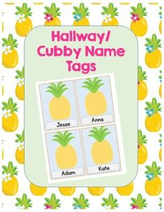 Pineapple-Themed Name Tags Cubby Name Tags, First Grade Classroom, Sponge Bob, Cubbies, Board Ideas, Bulletin Board, Classroom Decor, Pineapple, Students
