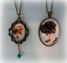 Camafeos vintage con imagen de damas.
