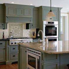 Green Kitchen Cabinets, Kitchen Cabinet Colors, Painting Kitchen Cabinets, Kitchen Layout, Kitchen Sinks, Kitchen Countertops, Soapstone Kitchen, Kitchen Backsplash, Kitchen Color Schemes