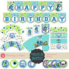Monsters University Digital Party Kit Party Package - Toppers Wrappers Pennant Banner Favor Box Thank you cards