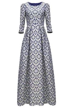 Floral Print Vintage Round Neck 3/4 Sleeve Maxi Dress For Women