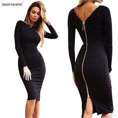 Sinofashion Women Sexy Night Club Bodycon Bandage Dress Vestidos Solid  Color Ladies Long Sleeve Back Zipper 32eb9ee83