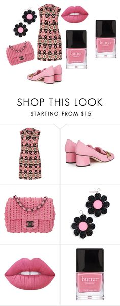 """""""Pretty In Pink pt.2"""" by sophiejwright ❤ liked on Polyvore featuring Samya, Gucci, Chanel, Marina Fini, Lime Crime and Butter London"""