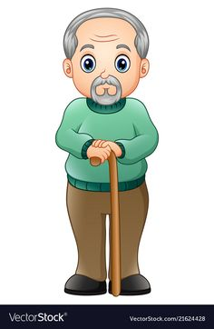Old man with walking stick Royalty Free Vector Image