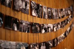 Black and white photos of the bride and  groom decorated walls in the venue
