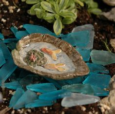 Fairy Garden Goldfish Pond, via Fairy Homes and Gardens on etsy