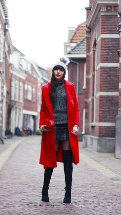 Scarlet Wool-blend Belted Coat