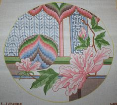 1995 L. W. Round Asian Themed Pink Floral Handpainted