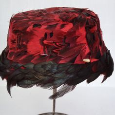 Vintage Red and Black Feather Hat with a Pearl
