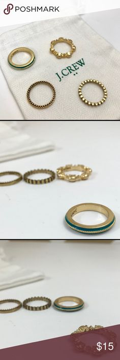 J. Crew Stacking Rings - Sz 7 - EUC! The perfect touch to a wardrobe! Set of four brass and enamel stacking rings from J. Crew. J. Crew Jewelry Rings
