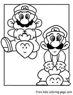 Print out Mario and Luigi Coloring Page