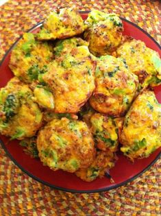 Low-Carb Broccoli Bites  Pre-heat oven to 375 degrees.  16 oz Chopped Brococoli  3 Eggs  1 cup crushed French's Fried Onions  1 1/2 cups 2% Sharp Cheddar Cheese  Salt & Pepper  Mix all ingredients well, adding salt and pepper to taste. Line Cookie sheet...