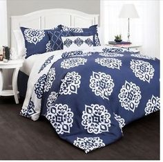 bedding bedroom decor soft 7 piece damask pattern comforter set Queen Size new | eBay