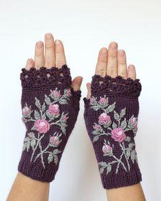 Knitted Fingerless Gloves Violet Roses by nbGlovesAndMittens