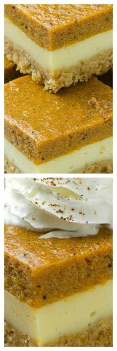 Pumpkin Cheesecake Bars - - Pumpkin Cheesecake Bars - Will make for a super tasty sweet treat during the fall and holiday season. This perfect Pumpkin Cheesecake Bars is delicious and very good! Holiday Desserts, Just Desserts, Delicious Desserts, Yummy Food, Apple Desserts, Holiday Foods, Pumpkin Cheesecake Bars, Cheesecake Squares, Raspberry Cheesecake