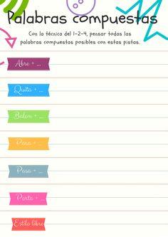 Ejercicios de palabras compuestas en trabajo cooperativo Bar Chart, Education, Compound Words, Cooperative Learning, Coops, Spanish Classroom, Speech Language Therapy, Professor, Vocabulary