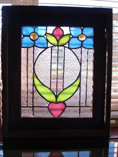Stained Glass Panel by HappyArtGlass on Etsy, $75.00