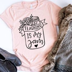 Teaching Is My Jam Tshirt This t-shirt is Made To Order, one by one printed so we can control the quality. Teaching Shirts, Teaching Outfits, Teacher T Shirts, Preschool Teacher Shirts, Teacher Clothes, Shirts For Teachers, Elementary Teacher Outfits, Teacher Gifts, Fashion Models