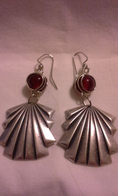 Art Deco Drop Earrings With Red Crystals  by ButterflyGardenBouti