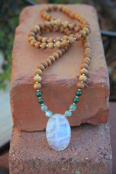 Moonstone Sandalwood Mala  Meditation Inspired Yoga Beads / mala beads BOHO chic