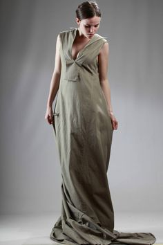 Yohji Yamamoto | long train dress in organic cotton serge |