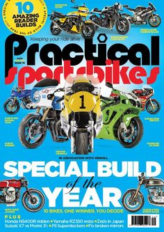 In the latest issue of Practical Sportsbikes is Special Build of the Year 2017, featuring the likes of a Yamaha RD500LC, Suzuki XR69 Replica and Kawasaki ZX-7/9RR. There's 10 amazing reader builds but there can only be one winner - you decide!  Also inside: Ex-pat Neil Hoare opens his Massachusetts garage to show his Yamaha RZ350 resto, Phil West reveals what makes Honda's NS400R the connoisseur's GP replica and how to fix bust mirror mounts.  PLUS Suzuki X7 vs Morini 3 1/2, Zeds in Japa...