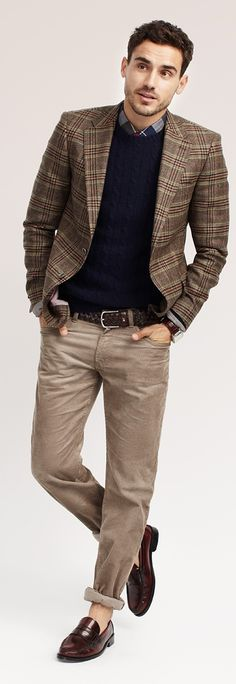 Brown-n-Navy Blue with texture! I could put a slate grey sweater against the browns as well.