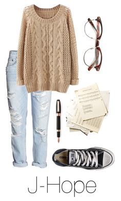 """""""Writing Music with J-Hope"""" by btsoutfits ❤ liked on Polyvore featuring Converse and Montegrappa"""