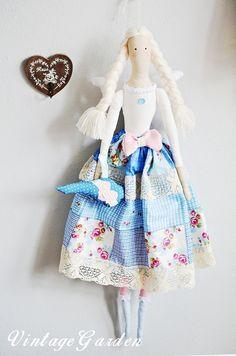 Duża lalka Tilda Anioł w Vintage Garden na DaWanda.com